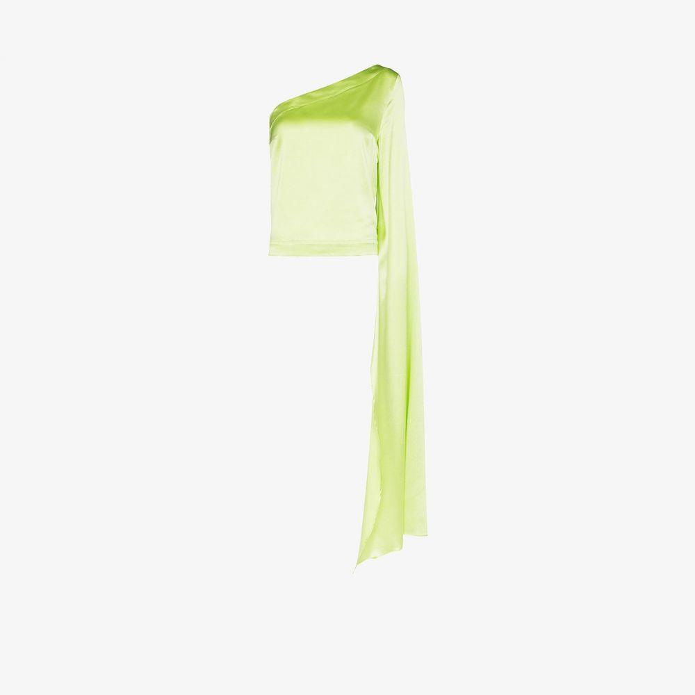 Taller Marmo レディース トップス 【Tamara one shoulder silk top】green
