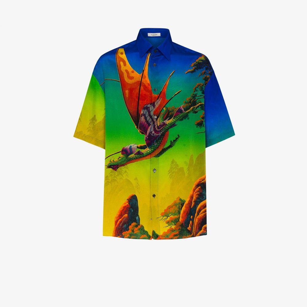 ヴァレンティノ Valentino メンズ シャツ トップス【Dragon at dawn print silk shirt】blue