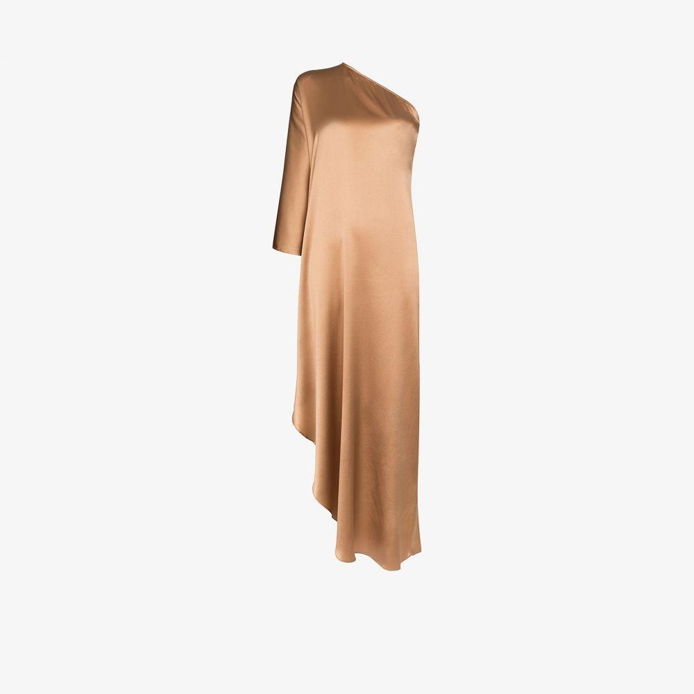 Taller Marmo レディース パーティードレス ワンピース・ドレス【Ubud one shoulder silk maxi dress】brown