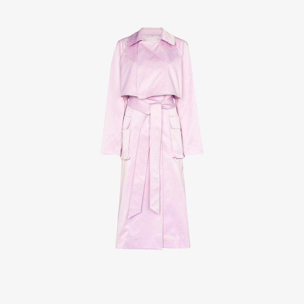 ティビ Tibi レディース トレンチコート アウター【Duchesse Tech belted trench coat】pink