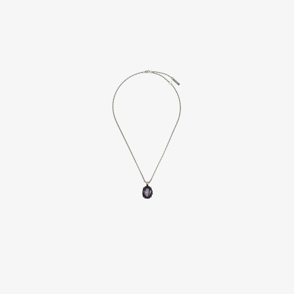 Sweetlimejuice メンズ ネックレス ジュエリー・アクセサリー【oxidised sterling silver cubic zirconia necklace】metallic