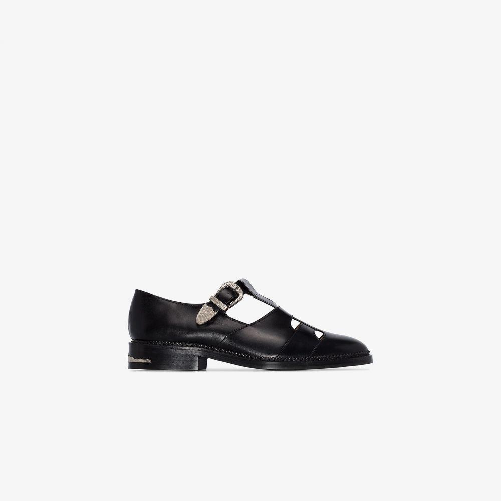 トーガ Toga Virilis メンズ ローファー シューズ・靴【black T-strap leather loafers】black