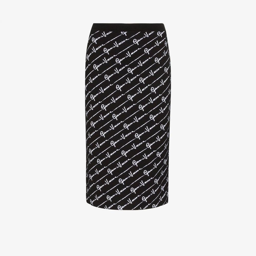 ヴェルサーチ Versace レディース ひざ丈スカート ペンシルスカート スカート【Wool all-over signature print pencil skirt】black