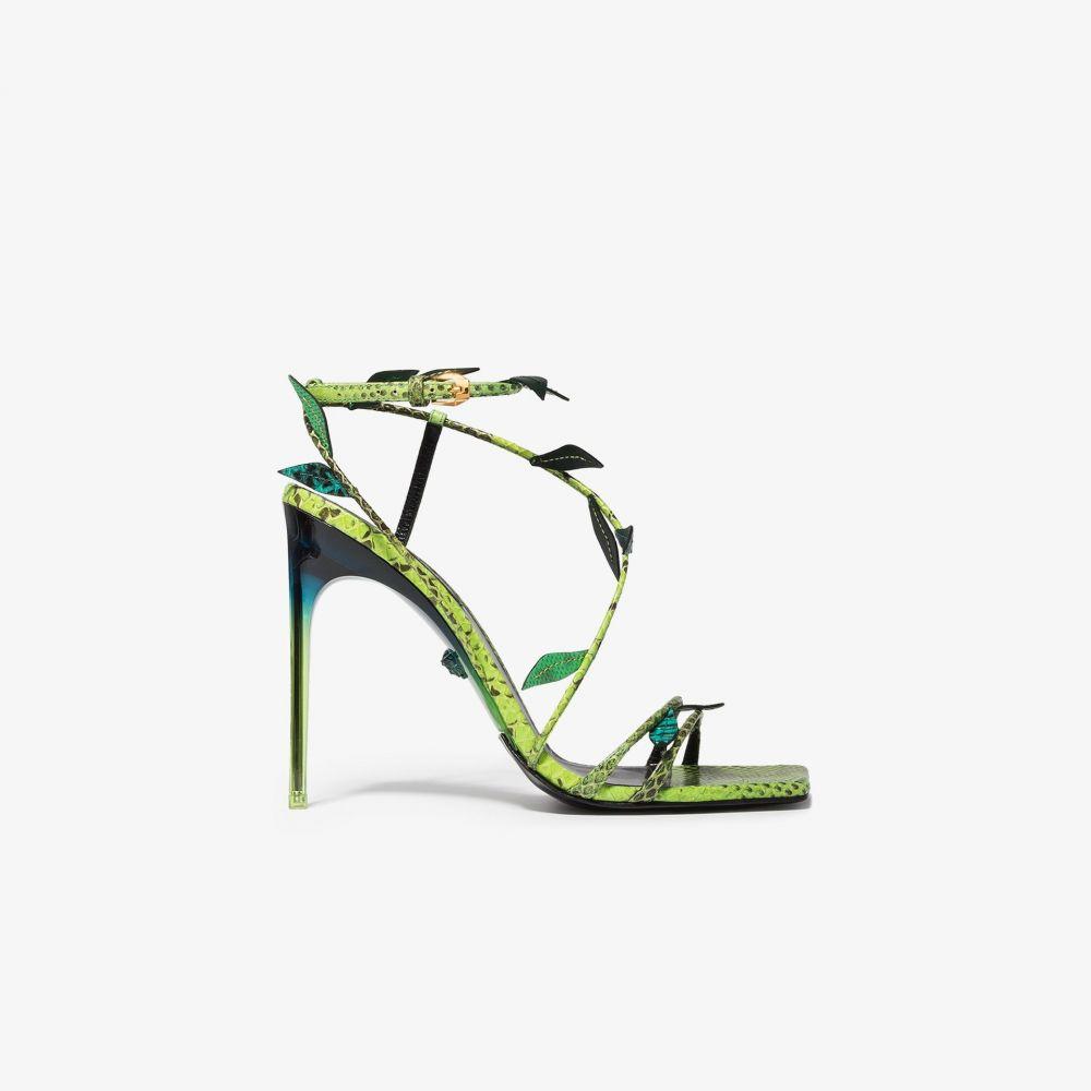 ヴェルサーチ Versace レディース サンダル・ミュール シューズ・靴【Green 110 snake print leaf leather sandals】black