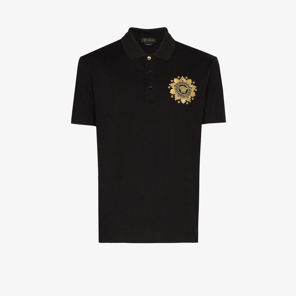 ヴェルサーチ Versace メンズ ポロシャツ メデューサ トップス【Medusa print cotton polo shirt】black