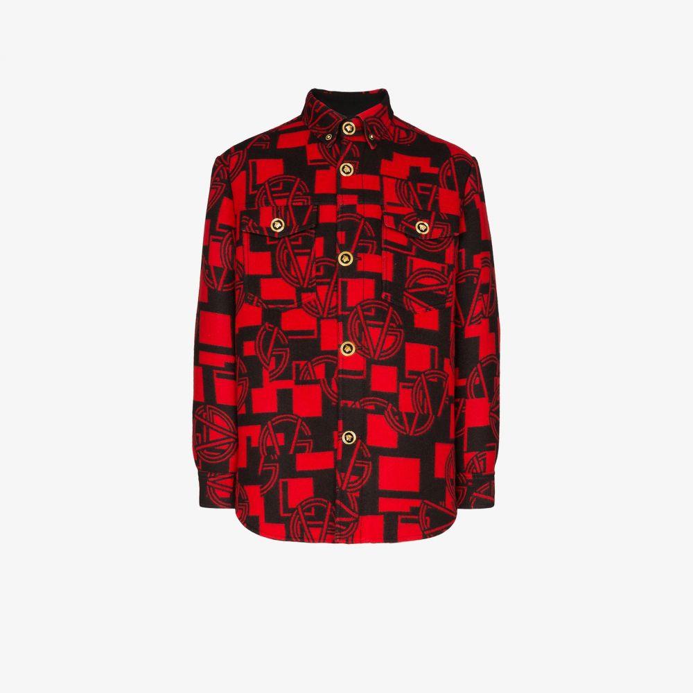 ヴェルサーチ Versace メンズ シャツ フランネルシャツ トップス【GV logo button-down flannel shirt】red