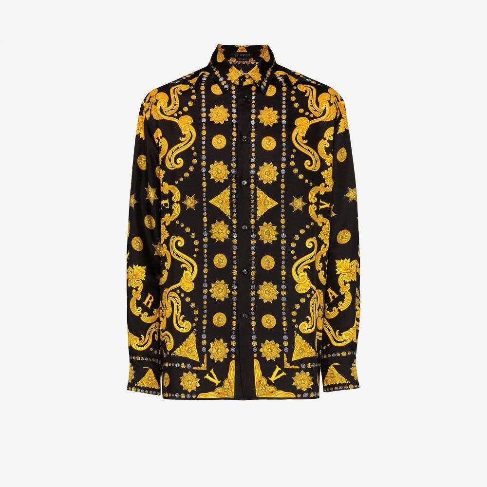 ヴェルサーチ Versace メンズ シャツ トップス【Baroque print silk shirt】black