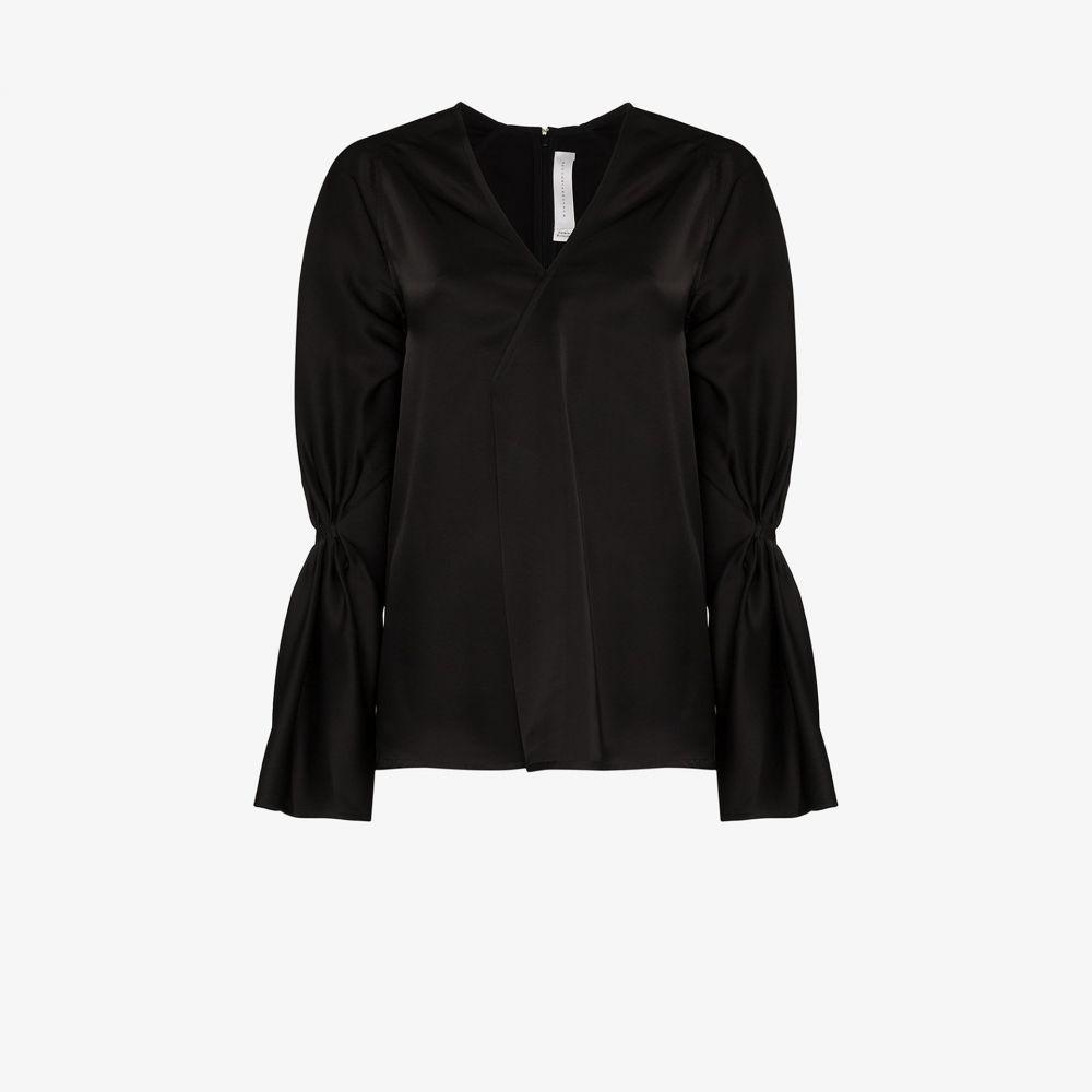 ヴィクトリア ベッカム Victoria Beckham レディース トップス Vネック【Satin pleated V-neck top】black