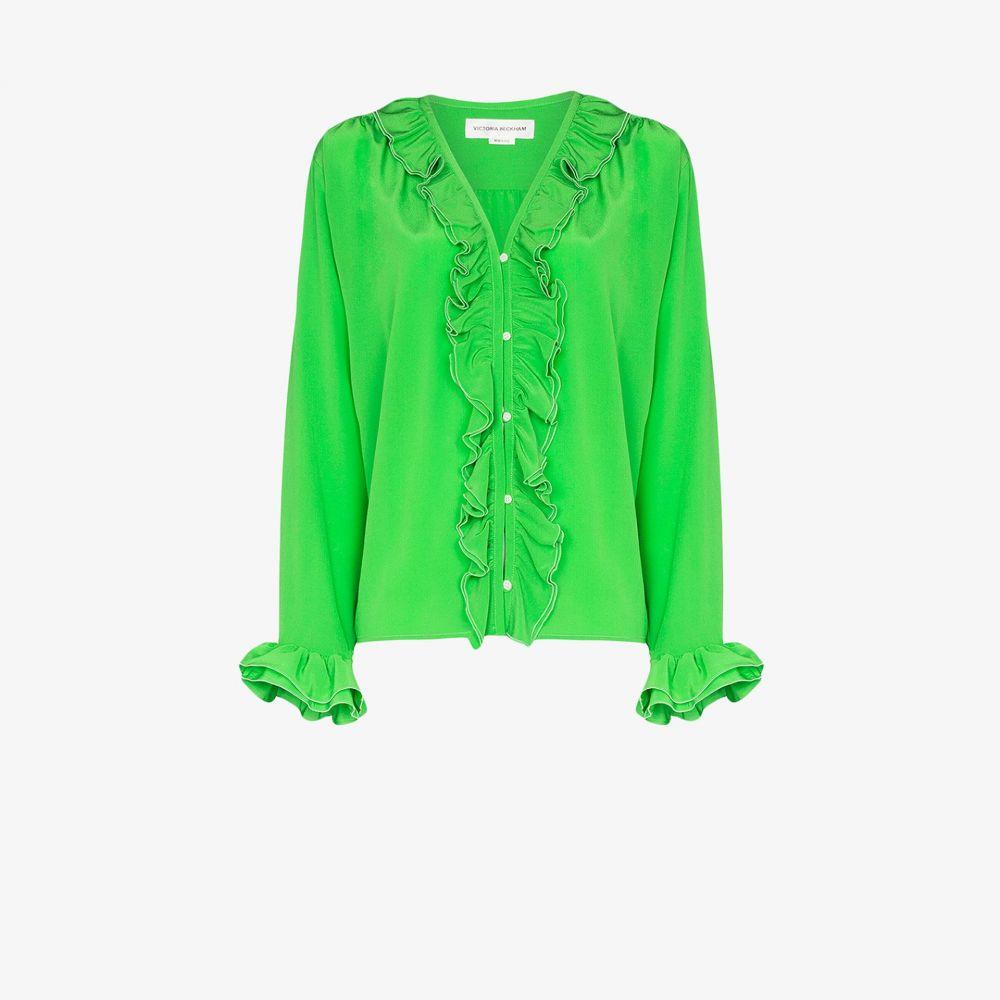 ヴィクトリア ベッカム Victoria Beckham レディース ブラウス・シャツ トップス【ruffled embellished silk blouse】green