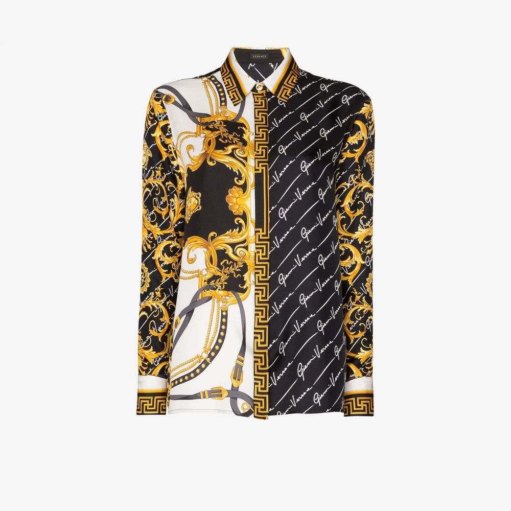 ヴェルサーチ Versace レディース ブラウス・シャツ トップス【Baroque and signature print silk shirt】black