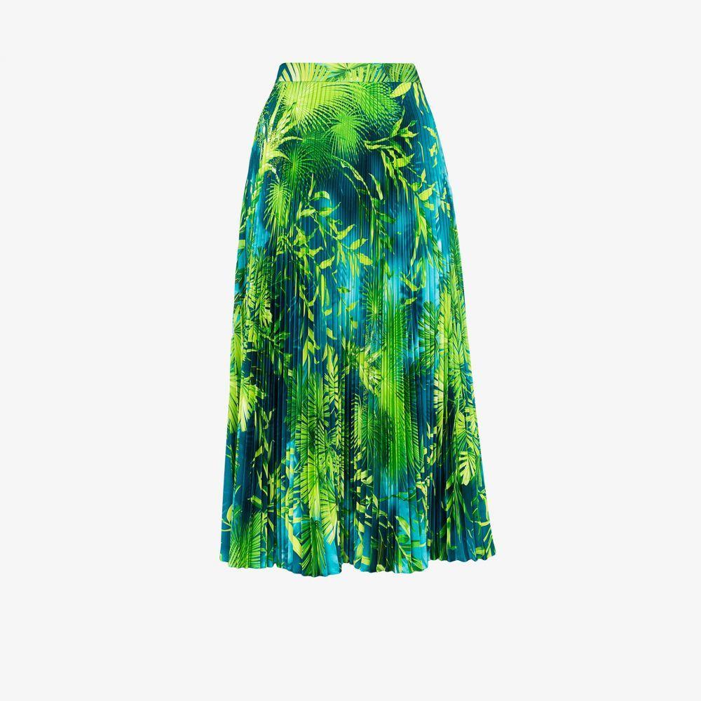 ヴェルサーチ Versace レディース ひざ丈スカート スカート【Jungle print pleated midi skirt】green