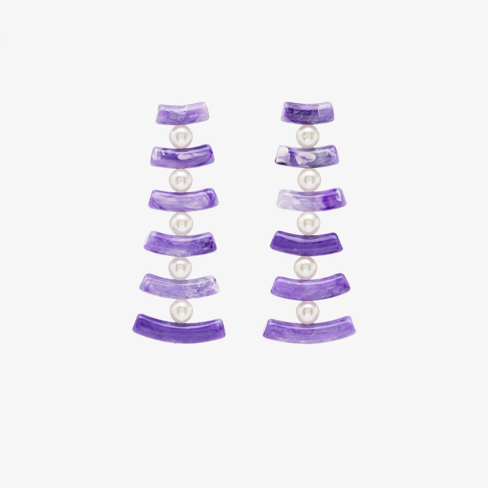 バレット スタジオ Valet Studio レディース イヤリング・ピアス ドロップピアス ジュエリー・アクセサリー【Purple Clotilde pearl drop earrings】purple