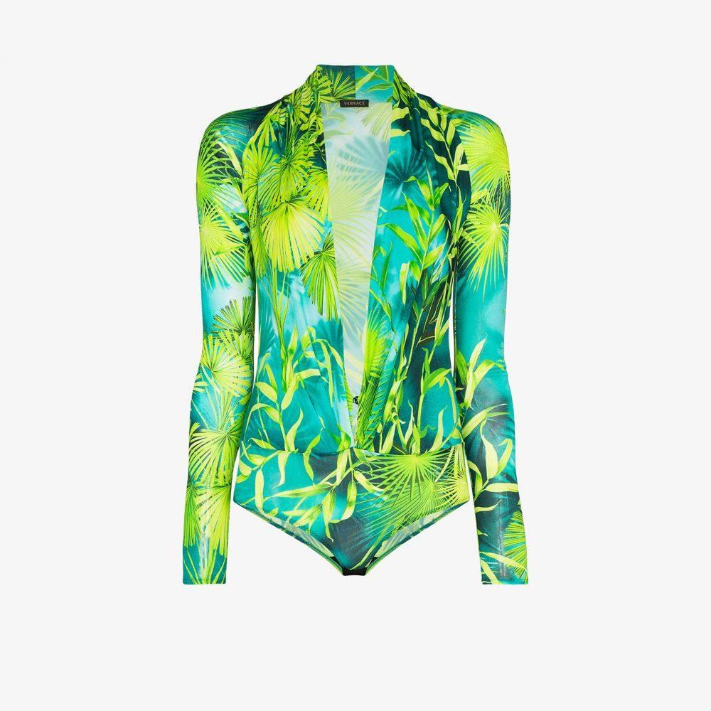 ヴェルサーチ Versace レディース ボディースーツ インナー・下着【jungle print bodysuit】green