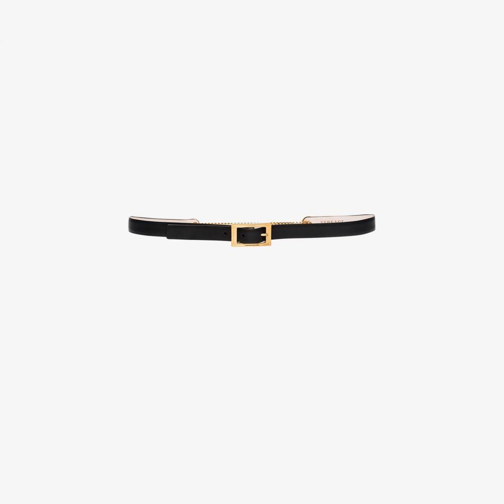 ヴェルサーチ Versace レディース ベルト 【black virtus skinny leather belt】black