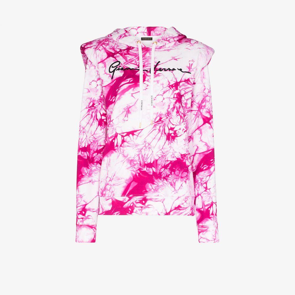 ヴェルサーチ Versace レディース パーカー トップス【tie-dye print logo hoodie】pink
