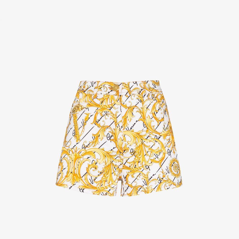 ヴェルサーチ Versace レディース ショートパンツ デニム ボトムス・パンツ【Baroque print denim shorts】yellow