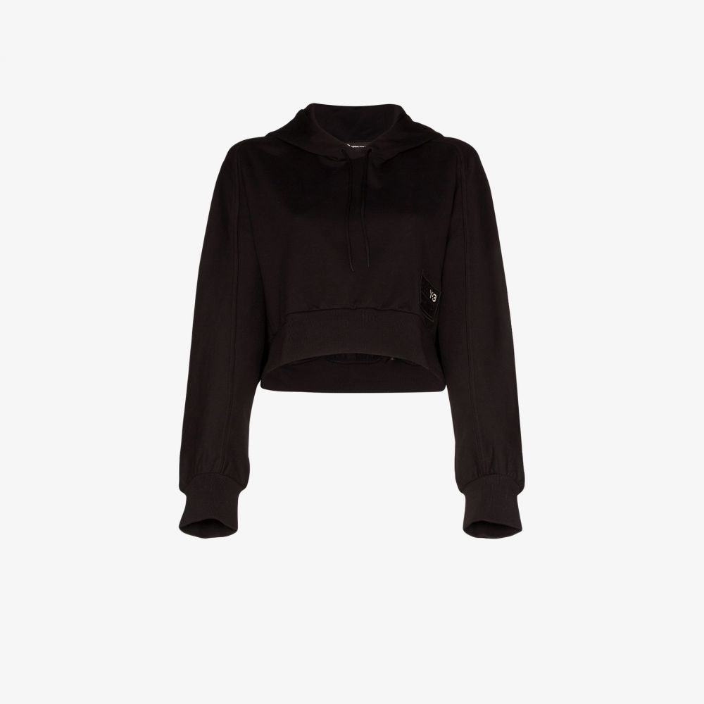 ワイスリー Y-3 レディース パーカー トップス【logo crop cotton hoodie】black