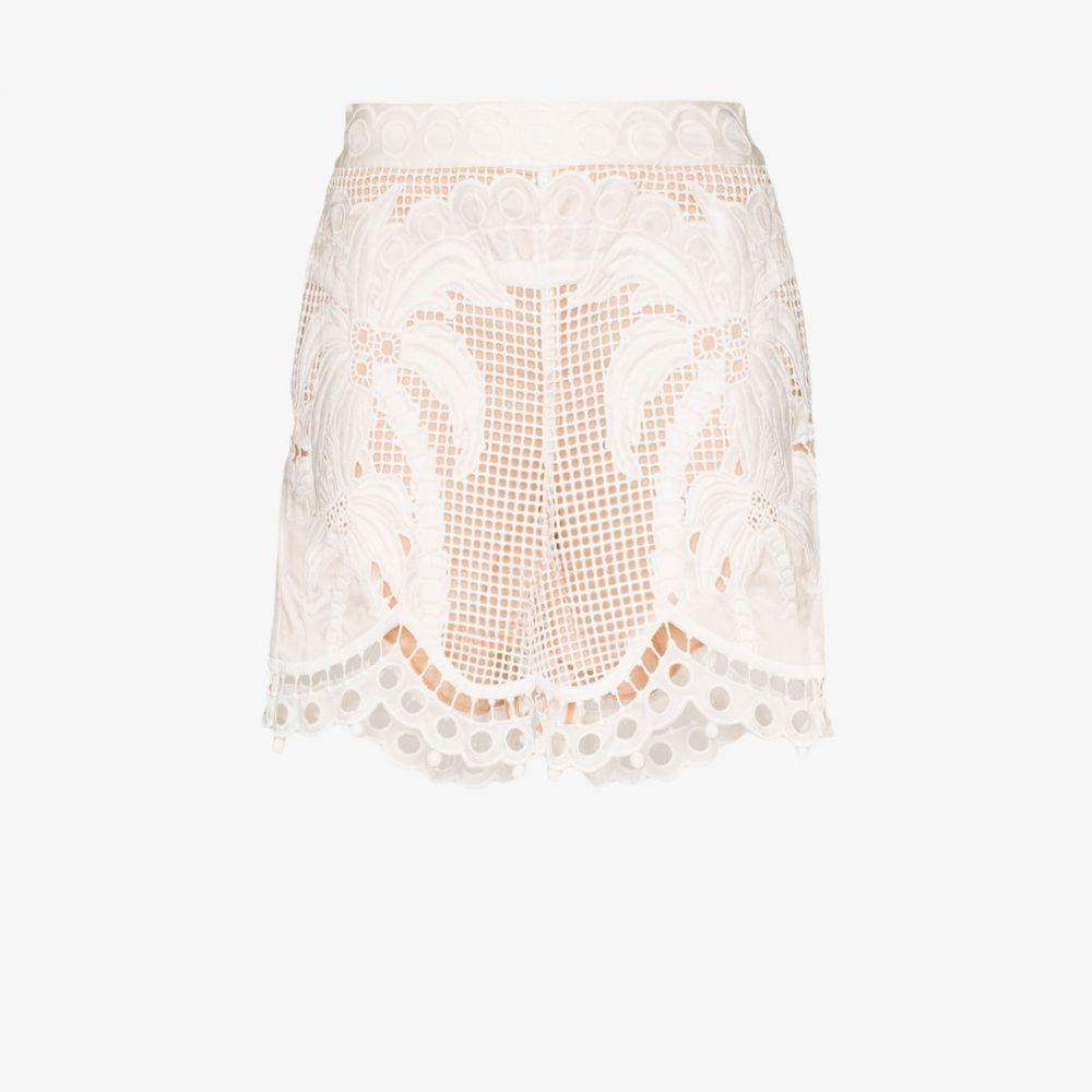 ジマーマン Zimmermann レディース ショートパンツ ボトムス・パンツ【floral lace shorts】white
