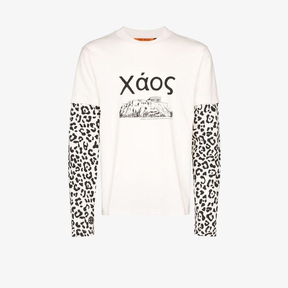 ヴァイナー アーティクルズ Vyner Articles メンズ Tシャツ トップス【Skater leopard print sleeve T-shirt】white