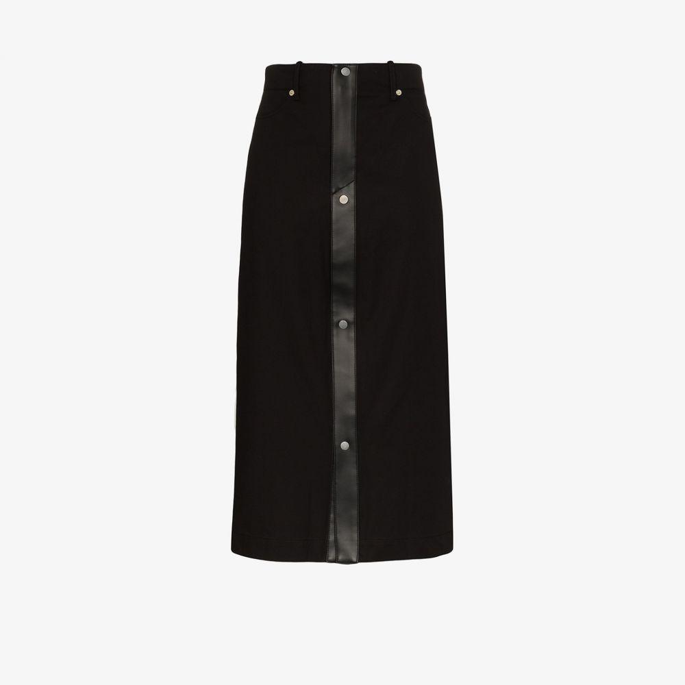 ジルヴァー Zilver レディース ひざ丈スカート スカート【Fitted faux leather trim skirt】black