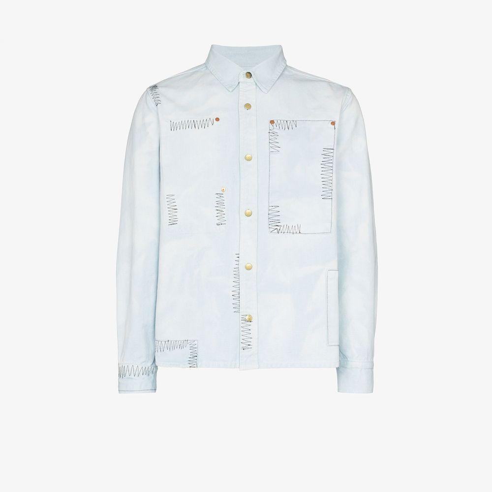 ヴァイナー アーティクルズ Vyner Articles メンズ シャツ トップス【Patchwork topstitched shirt】blue