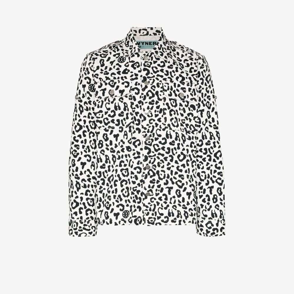 ヴァイナー アーティクルズ Vyner Articles メンズ シャツ トップス【leopard print cotton shirt】white