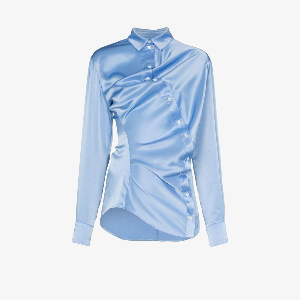 ワイプロジェクト Y/Project レディース ブラウス・シャツ トップス【long twisted button shirt】blue