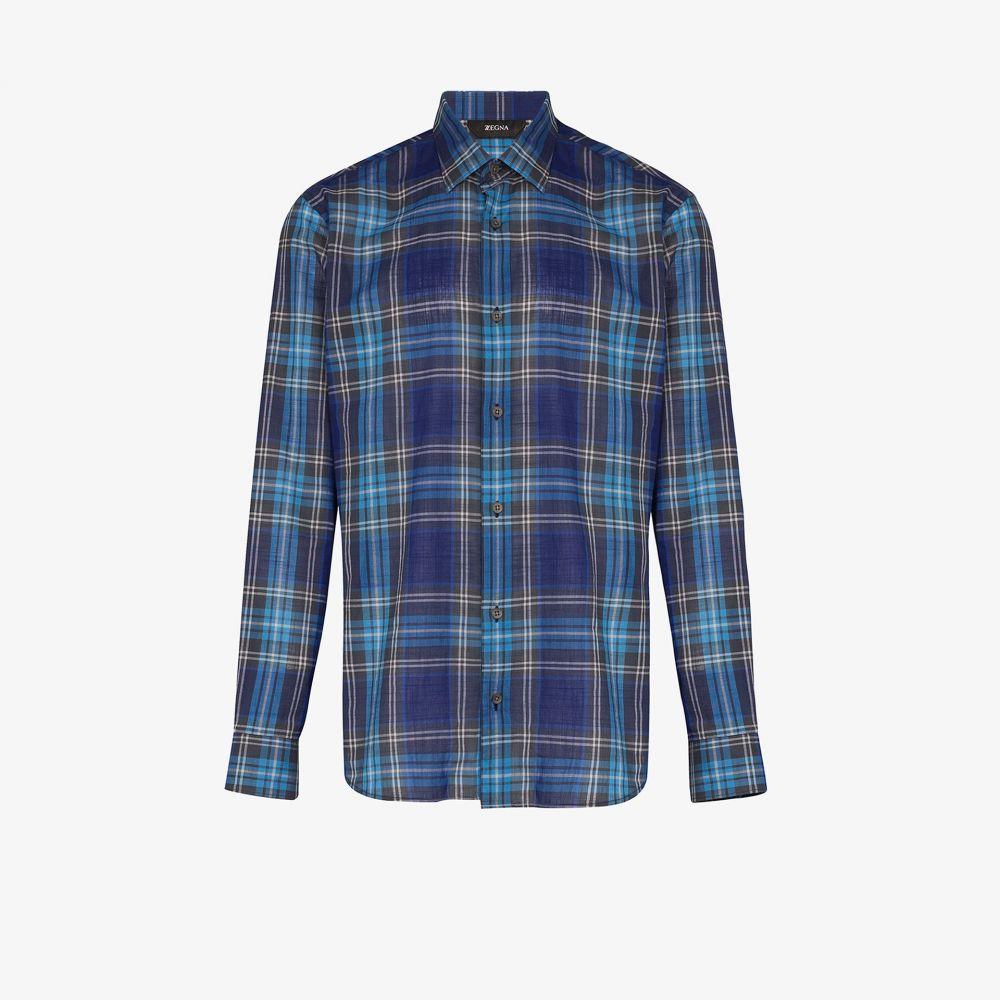 ジーゼニア Z Zegna メンズ シャツ トップス【checked button-down shirt】blue