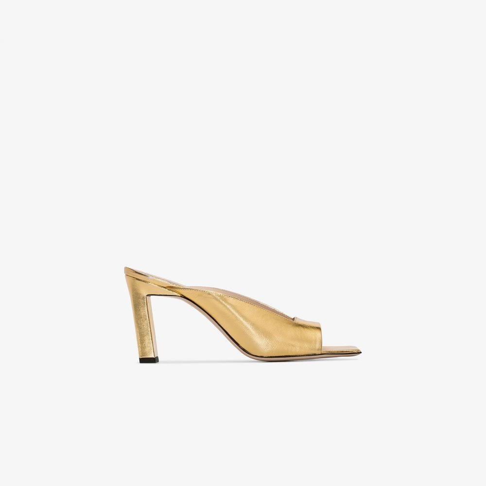 ワンダラー Wandler レディース サンダル・ミュール スクエアトゥ シューズ・靴【gold Isa 85 square toe leather mules】gold