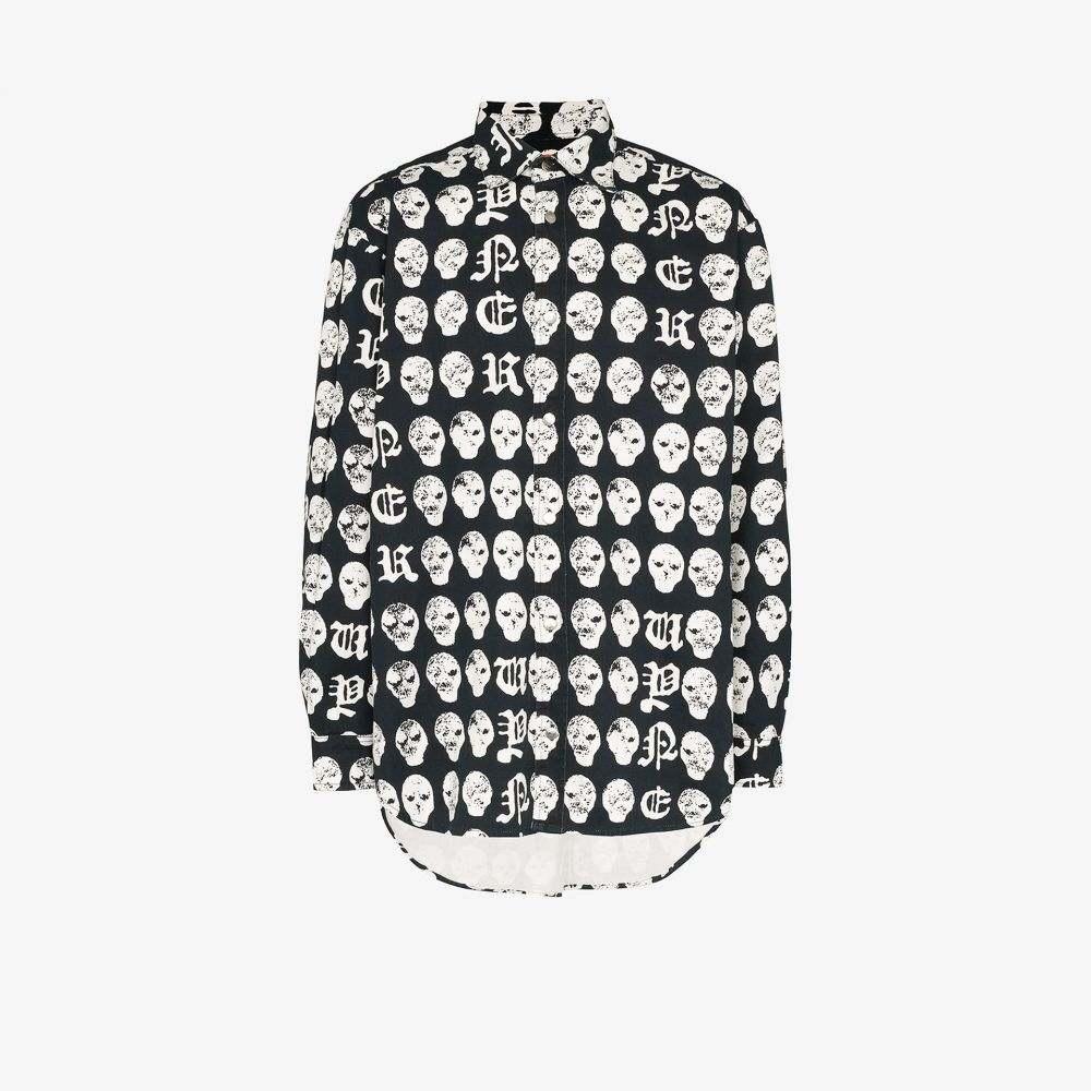ヴァイナー アーティクルズ Vyner Articles メンズ シャツ トップス【Salmiakki printed oversized shirt】black