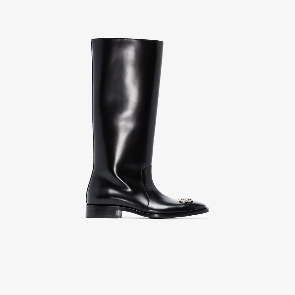 バレンシアガ Balenciaga メンズ レインシューズ・長靴 シューズ・靴【black Rim BB leather rain boots】black
