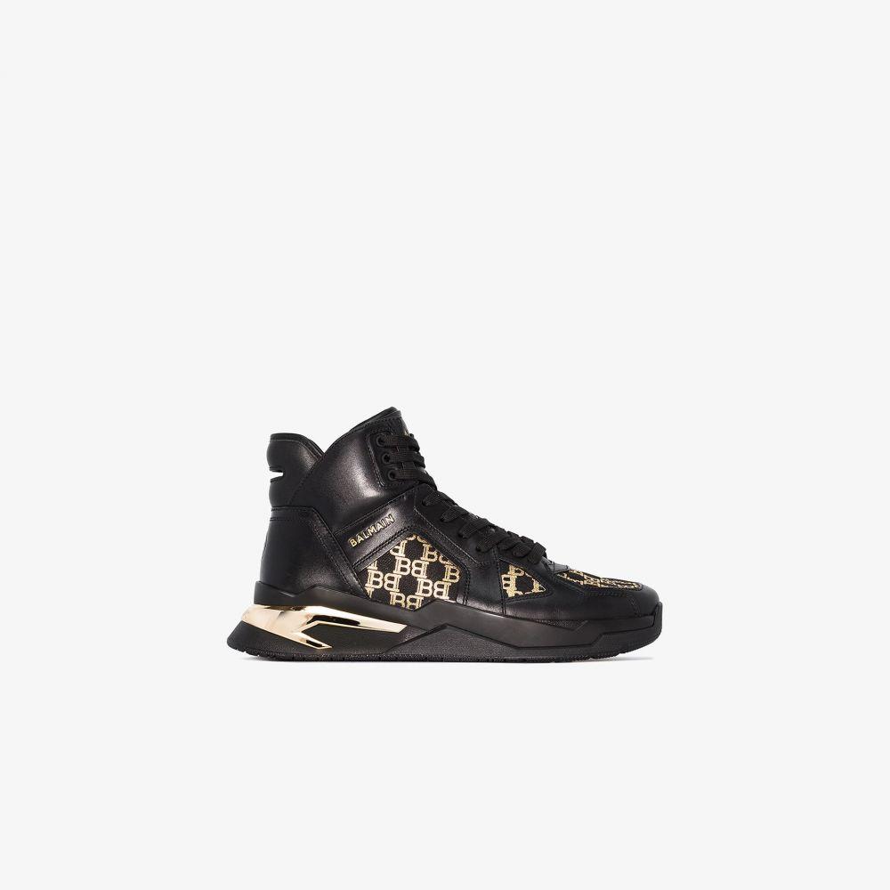 バルマン Balmain メンズ スニーカー シューズ・靴【Black B-Ball monogram high top sneakers】black