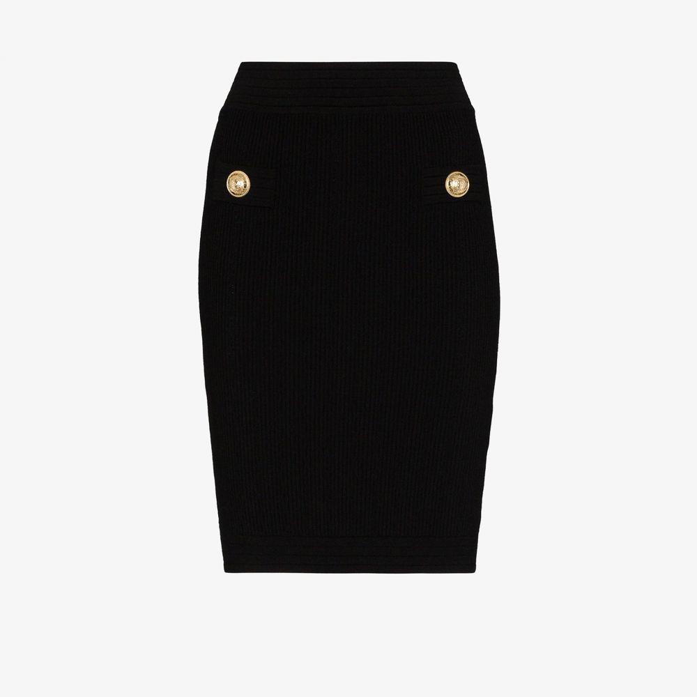 バルマン Balmain レディース スカート 【rib knit fitted skirt】black