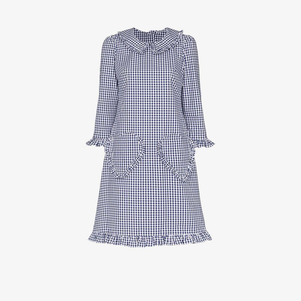 バットシェヴァ Batsheva レディース ワンピース ワンピース・ドレス【Heart pocket check print dress】blue