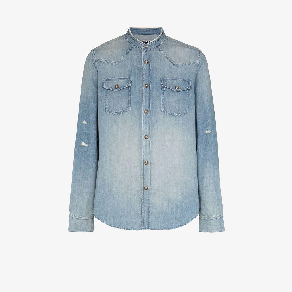 バルマン Balmain メンズ シャツ デニム トップス【Round neck denim shirt】blue