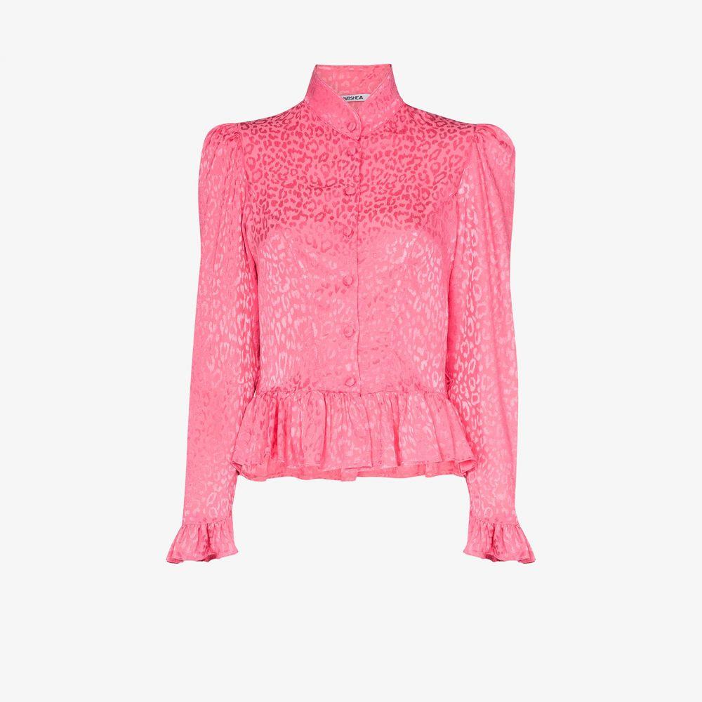 バットシェヴァ Batsheva レディース ブラウス・シャツ トップス【ruffle peplum leopard print blouse】pink