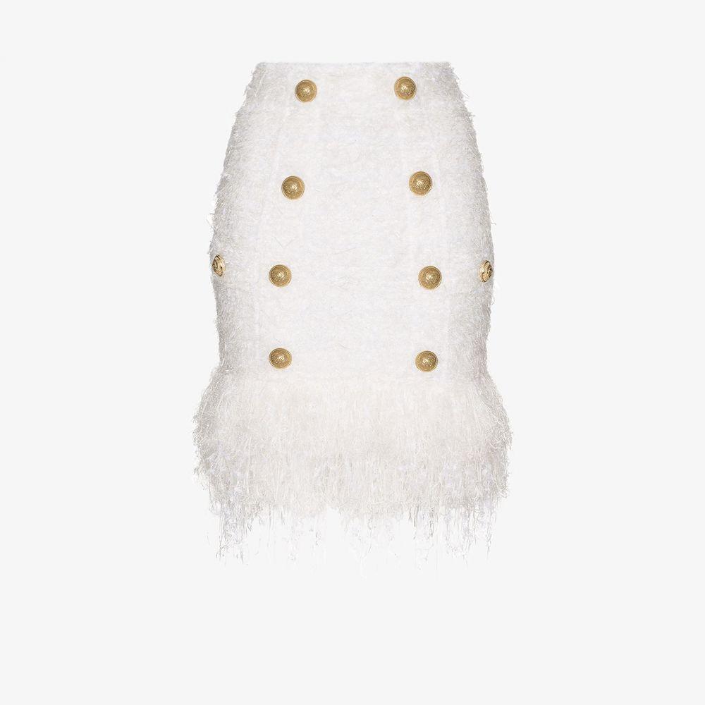 バルマン Balmain レディース スカート 【Buttoned fringed tweed skirt】white