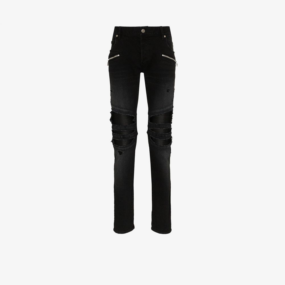 バルマン Balmain メンズ ジーンズ・デニム ボトムス・パンツ【Destroy rubber panel slim leg jeans】black