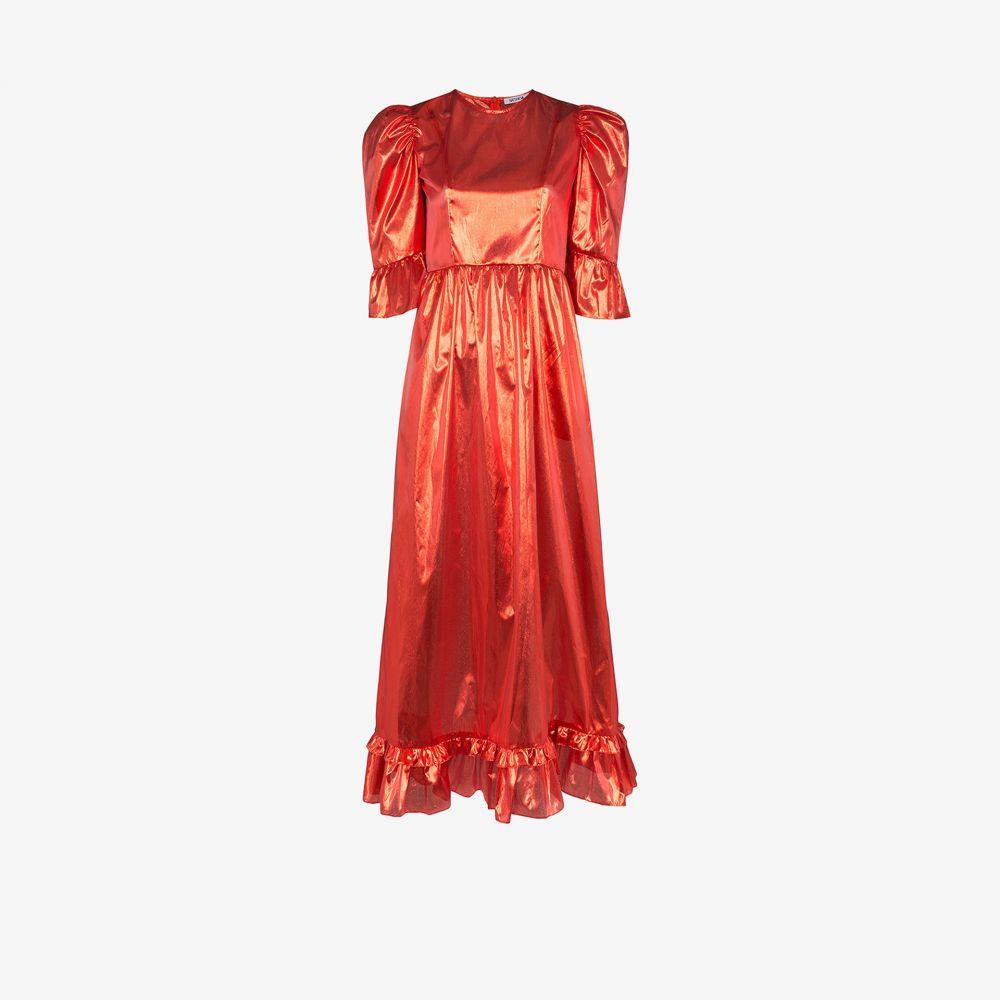 バットシェヴァ Batsheva レディース ワンピース ワンピース・ドレス【Prairie metallic puff sleeve dress】red