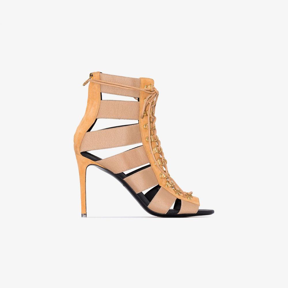 バルマン Balmain レディース サンダル・ミュール シューズ・靴【brown Lindsay 70 suede and canvas sandals】neutrals