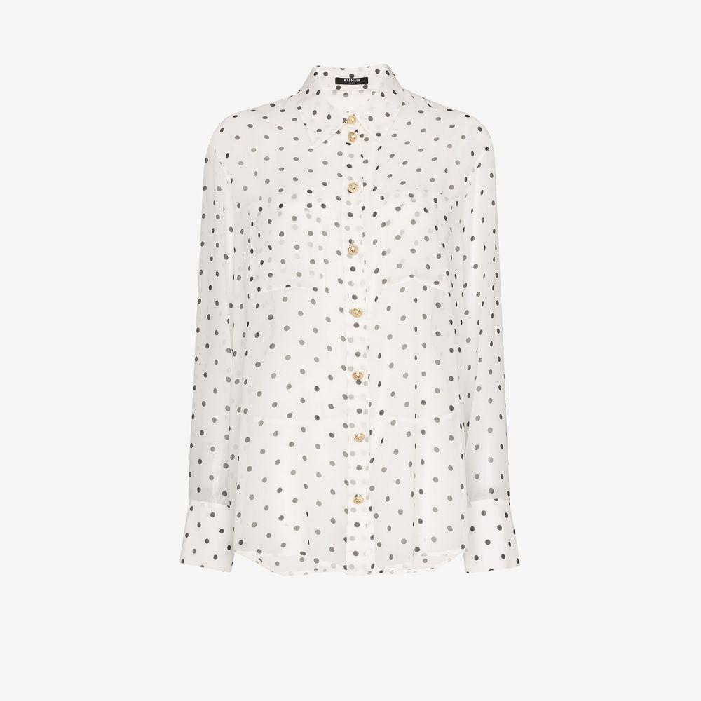 バルマン Balmain レディース ブラウス・シャツ トップス【polka dot sheer silk shirt】white