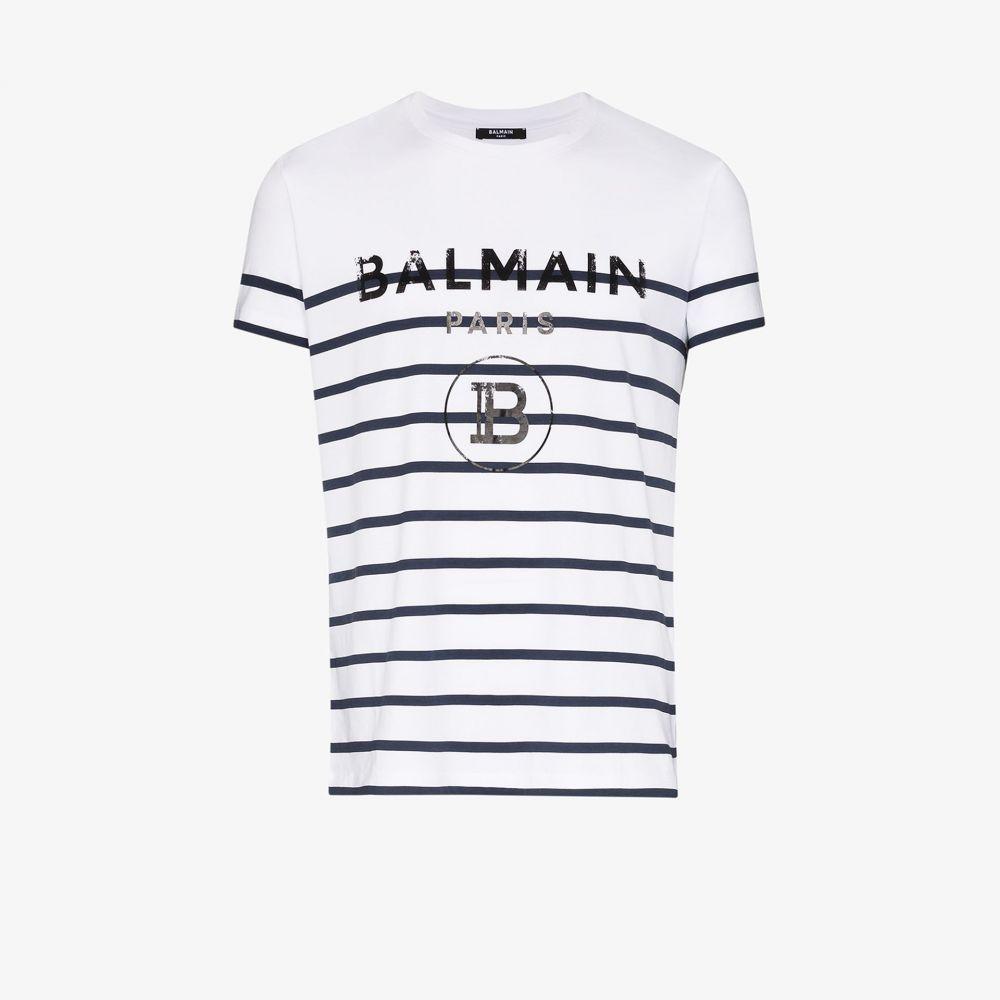 バルマン Balmain メンズ Tシャツ トップス【striped logo print cotton T-shirt】white