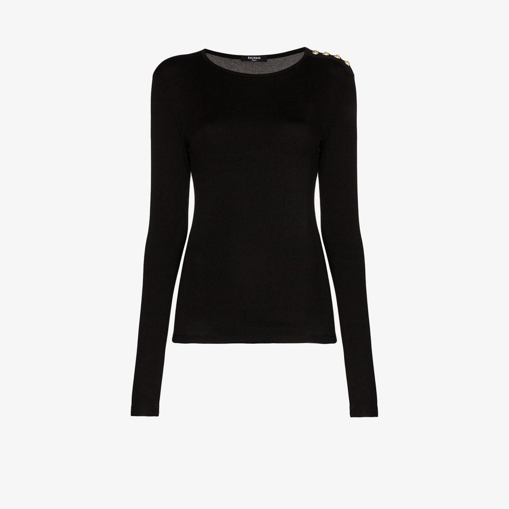 バルマン Balmain レディース トップス 【button shoulder top】black