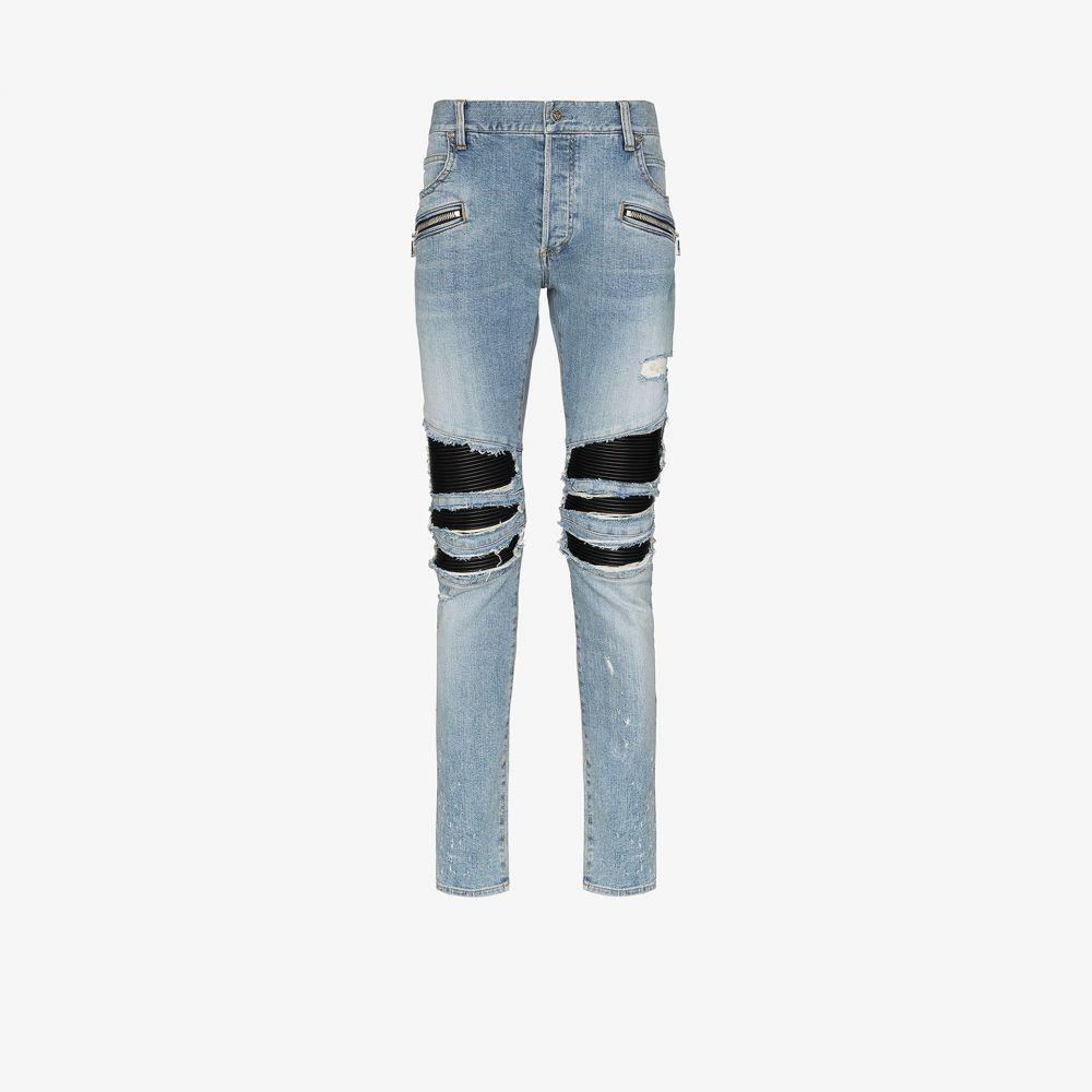 バルマン Balmain メンズ ジーンズ・デニム ボトムス・パンツ【rip detail straight leg jeans】blue