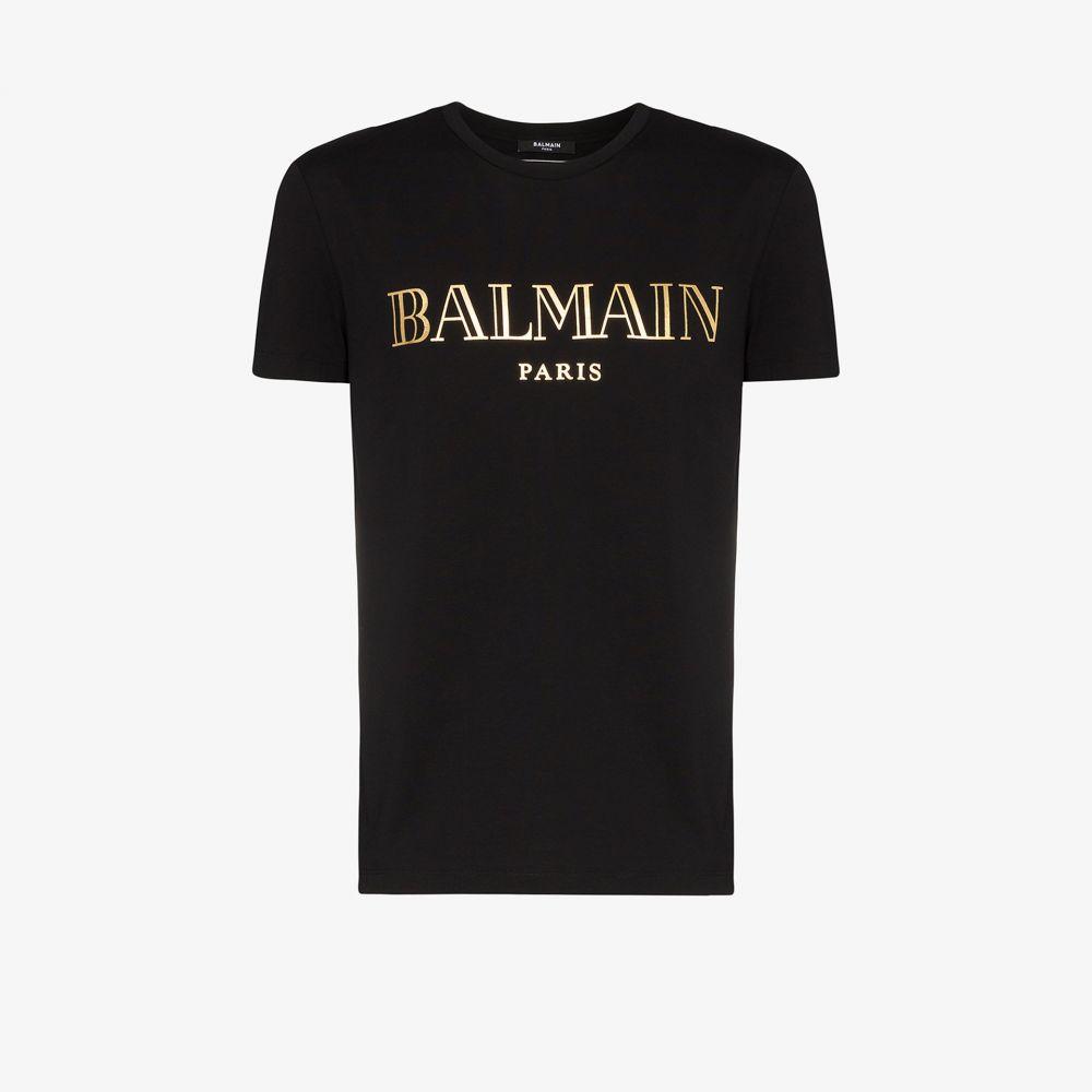 バルマン Balmain メンズ Tシャツ トップス【Paris logo print T-shirt】black