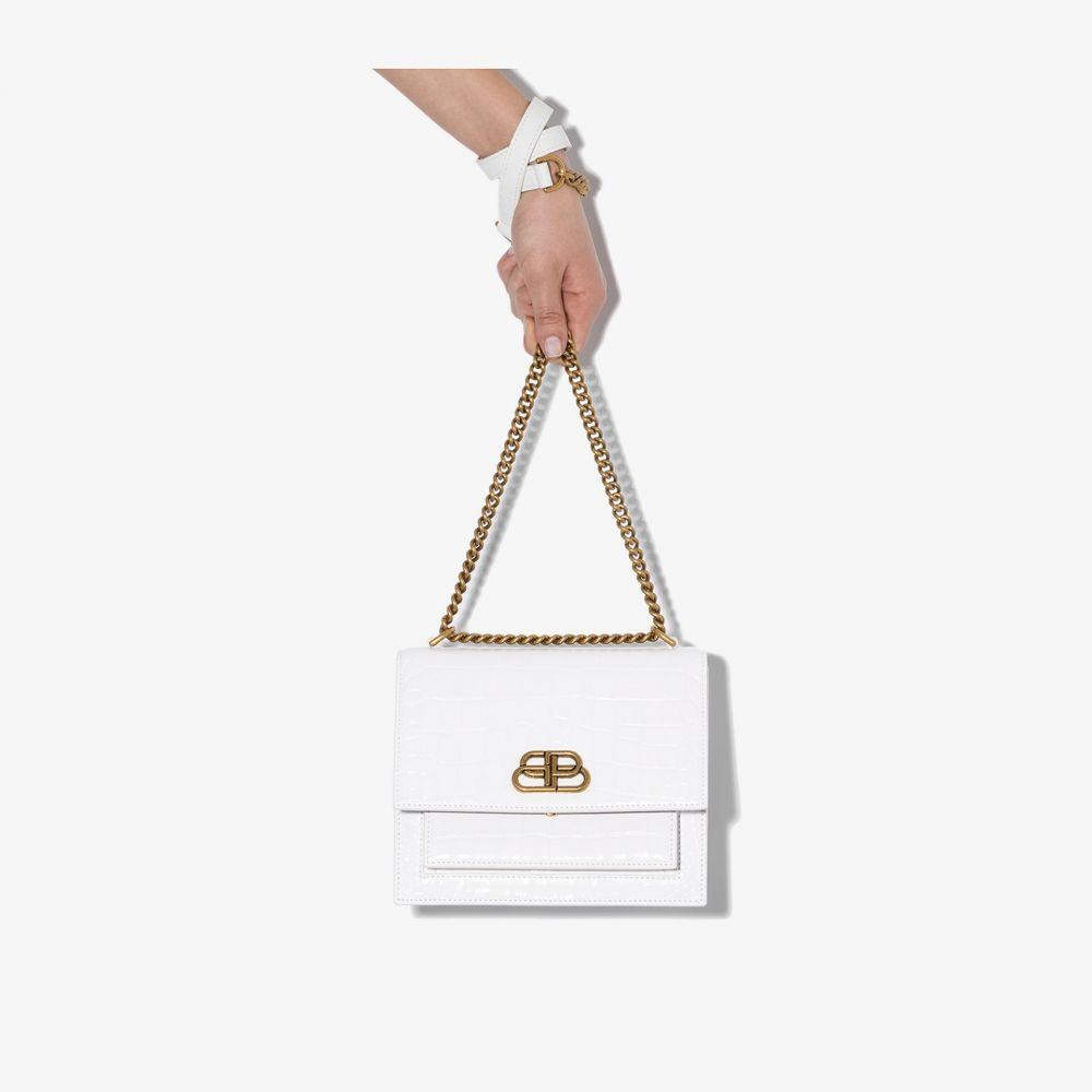 バレンシアガ Balenciaga レディース ショルダーバッグ バッグ【white Sharp small mock croc leather shoulder bag】