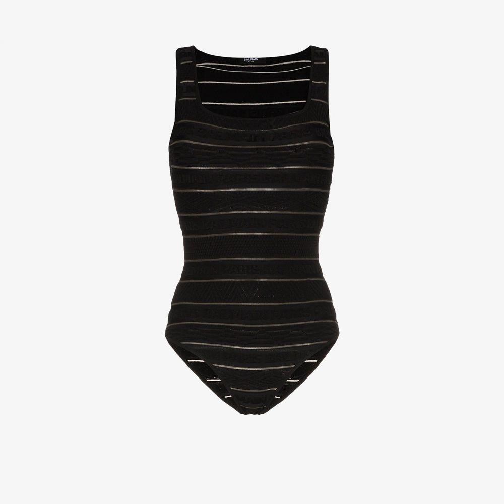 バルマン Balmain レディース ボディースーツ インナー・下着【Logo stripe bodysuit】black