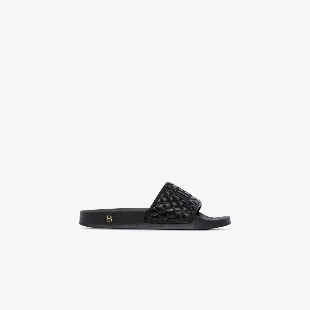 バルマン Balmain レディース サンダル・ミュール シューズ・靴【black calypso quilted leather slides】black