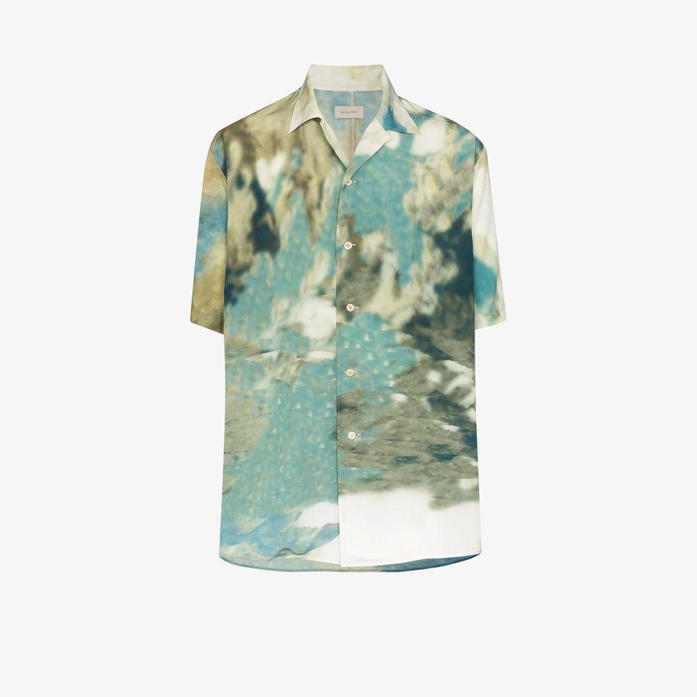 ベッドフォード Bed J.W. Ford メンズ シャツ トップス【printed half sleeve shirt】blue