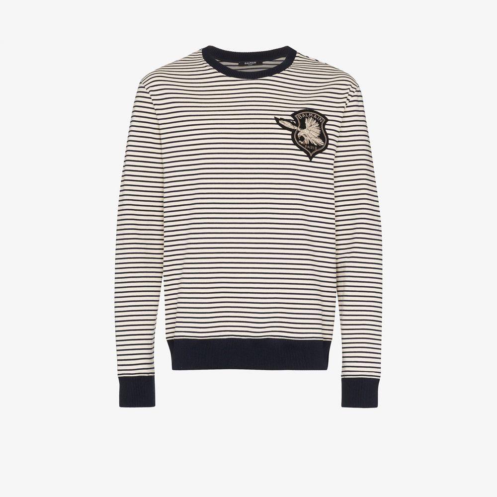 バルマン Balmain メンズ シャツ トップス【eagle logo striped cotton sweatshirt】blue